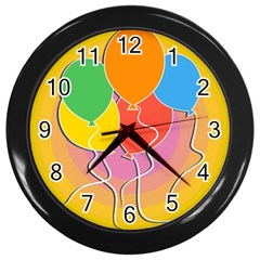 Birthday Party Balloons Colourful Cartoon Illustration Of A Bunch Of Party Balloon Wall Clocks (black)