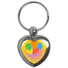 Birthday Party Balloons Colourful Cartoon Illustration Of A Bunch Of Party Balloon Key Chains (heart)