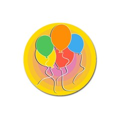 Birthday Party Balloons Colourful Cartoon Illustration Of A Bunch Of Party Balloon Magnet 3  (Round)