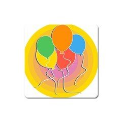 Birthday Party Balloons Colourful Cartoon Illustration Of A Bunch Of Party Balloon Square Magnet
