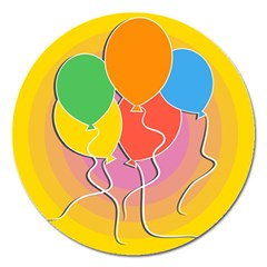 Birthday Party Balloons Colourful Cartoon Illustration Of A Bunch Of Party Balloon Magnet 5  (round)