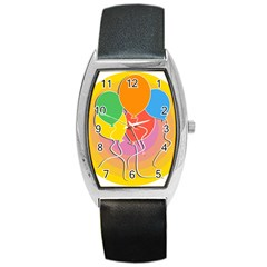 Birthday Party Balloons Colourful Cartoon Illustration Of A Bunch Of Party Balloon Barrel Style Metal Watch