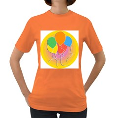Birthday Party Balloons Colourful Cartoon Illustration Of A Bunch Of Party Balloon Women s Dark T-Shirt