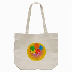 Birthday Party Balloons Colourful Cartoon Illustration Of A Bunch Of Party Balloon Tote Bag (Cream)