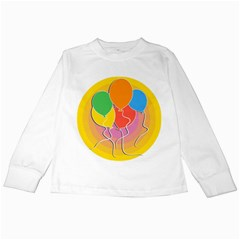 Birthday Party Balloons Colourful Cartoon Illustration Of A Bunch Of Party Balloon Kids Long Sleeve T-Shirts