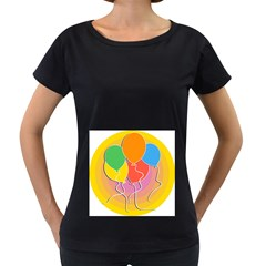 Birthday Party Balloons Colourful Cartoon Illustration Of A Bunch Of Party Balloon Women s Loose-Fit T-Shirt (Black)