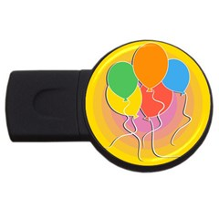 Birthday Party Balloons Colourful Cartoon Illustration Of A Bunch Of Party Balloon Usb Flash Drive Round (4 Gb)