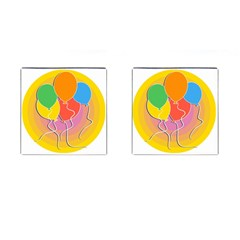 Birthday Party Balloons Colourful Cartoon Illustration Of A Bunch Of Party Balloon Cufflinks (Square)