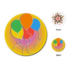 Birthday Party Balloons Colourful Cartoon Illustration Of A Bunch Of Party Balloon Playing Cards (round)