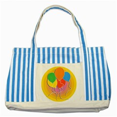 Birthday Party Balloons Colourful Cartoon Illustration Of A Bunch Of Party Balloon Striped Blue Tote Bag