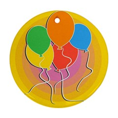 Birthday Party Balloons Colourful Cartoon Illustration Of A Bunch Of Party Balloon Round Ornament (two Sides)