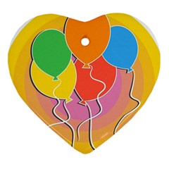 Birthday Party Balloons Colourful Cartoon Illustration Of A Bunch Of Party Balloon Heart Ornament (two Sides)