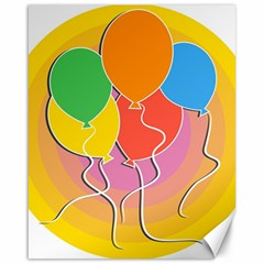 Birthday Party Balloons Colourful Cartoon Illustration Of A Bunch Of Party Balloon Canvas 16  X 20