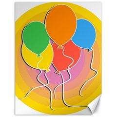 Birthday Party Balloons Colourful Cartoon Illustration Of A Bunch Of Party Balloon Canvas 18  x 24