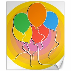 Birthday Party Balloons Colourful Cartoon Illustration Of A Bunch Of Party Balloon Canvas 20  X 24