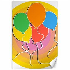 Birthday Party Balloons Colourful Cartoon Illustration Of A Bunch Of Party Balloon Canvas 20  X 30