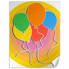 Birthday Party Balloons Colourful Cartoon Illustration Of A Bunch Of Party Balloon Canvas 36  x 48