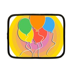 Birthday Party Balloons Colourful Cartoon Illustration Of A Bunch Of Party Balloon Netbook Case (Small)