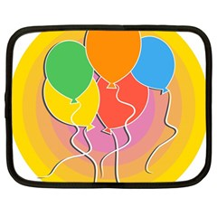 Birthday Party Balloons Colourful Cartoon Illustration Of A Bunch Of Party Balloon Netbook Case (Large)