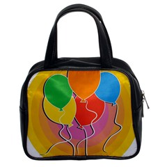 Birthday Party Balloons Colourful Cartoon Illustration Of A Bunch Of Party Balloon Classic Handbags (2 Sides)