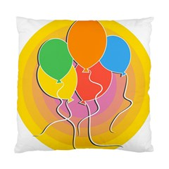 Birthday Party Balloons Colourful Cartoon Illustration Of A Bunch Of Party Balloon Standard Cushion Case (one Side)