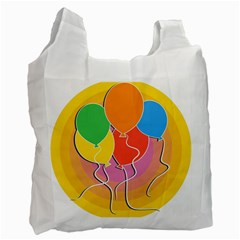 Birthday Party Balloons Colourful Cartoon Illustration Of A Bunch Of Party Balloon Recycle Bag (two Side)