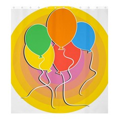 Birthday Party Balloons Colourful Cartoon Illustration Of A Bunch Of Party Balloon Shower Curtain 66  x 72  (Large)