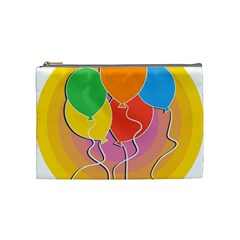 Birthday Party Balloons Colourful Cartoon Illustration Of A Bunch Of Party Balloon Cosmetic Bag (Medium)