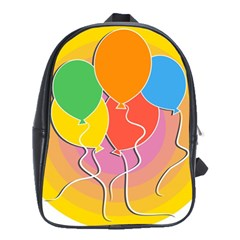 Birthday Party Balloons Colourful Cartoon Illustration Of A Bunch Of Party Balloon School Bags(large)