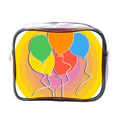 Birthday Party Balloons Colourful Cartoon Illustration Of A Bunch Of Party Balloon Mini Toiletries Bags