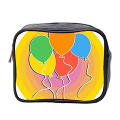 Birthday Party Balloons Colourful Cartoon Illustration Of A Bunch Of Party Balloon Mini Toiletries Bag 2-Side