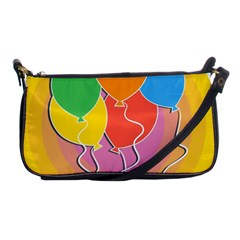 Birthday Party Balloons Colourful Cartoon Illustration Of A Bunch Of Party Balloon Shoulder Clutch Bags