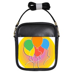 Birthday Party Balloons Colourful Cartoon Illustration Of A Bunch Of Party Balloon Girls Sling Bags