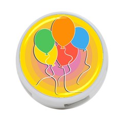 Birthday Party Balloons Colourful Cartoon Illustration Of A Bunch Of Party Balloon 4-Port USB Hub (Two Sides)