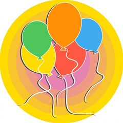 Birthday Party Balloons Colourful Cartoon Illustration Of A Bunch Of Party Balloon Magic Photo Cubes