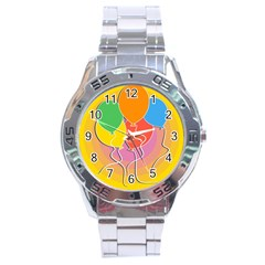 Birthday Party Balloons Colourful Cartoon Illustration Of A Bunch Of Party Balloon Stainless Steel Analogue Watch