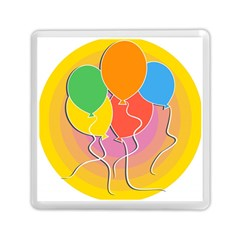 Birthday Party Balloons Colourful Cartoon Illustration Of A Bunch Of Party Balloon Memory Card Reader (Square)