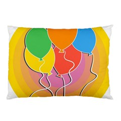 Birthday Party Balloons Colourful Cartoon Illustration Of A Bunch Of Party Balloon Pillow Case (two Sides)