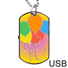 Birthday Party Balloons Colourful Cartoon Illustration Of A Bunch Of Party Balloon Dog Tag USB Flash (Two Sides)