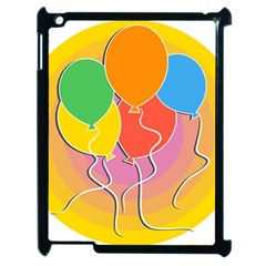 Birthday Party Balloons Colourful Cartoon Illustration Of A Bunch Of Party Balloon Apple iPad 2 Case (Black)