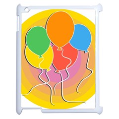 Birthday Party Balloons Colourful Cartoon Illustration Of A Bunch Of Party Balloon Apple iPad 2 Case (White)