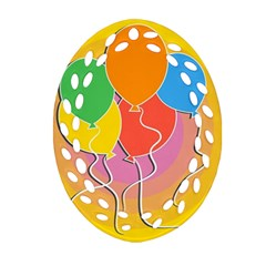 Birthday Party Balloons Colourful Cartoon Illustration Of A Bunch Of Party Balloon Oval Filigree Ornament (Two Sides)