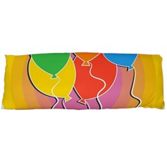Birthday Party Balloons Colourful Cartoon Illustration Of A Bunch Of Party Balloon Body Pillow Case (dakimakura)