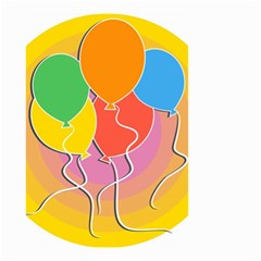 Birthday Party Balloons Colourful Cartoon Illustration Of A Bunch Of Party Balloon Small Garden Flag (Two Sides)