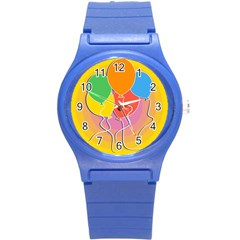 Birthday Party Balloons Colourful Cartoon Illustration Of A Bunch Of Party Balloon Round Plastic Sport Watch (s)