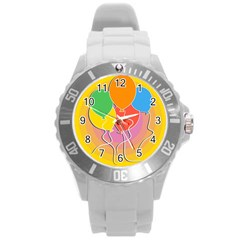 Birthday Party Balloons Colourful Cartoon Illustration Of A Bunch Of Party Balloon Round Plastic Sport Watch (l)