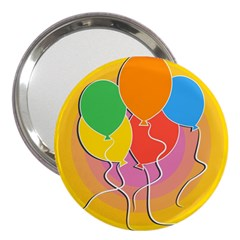 Birthday Party Balloons Colourful Cartoon Illustration Of A Bunch Of Party Balloon 3  Handbag Mirrors