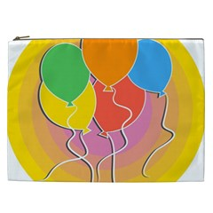 Birthday Party Balloons Colourful Cartoon Illustration Of A Bunch Of Party Balloon Cosmetic Bag (XXL)