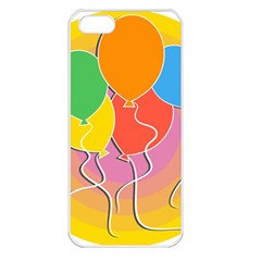 Birthday Party Balloons Colourful Cartoon Illustration Of A Bunch Of Party Balloon Apple Iphone 5 Seamless Case (white)