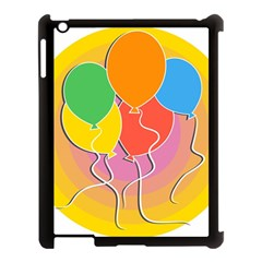 Birthday Party Balloons Colourful Cartoon Illustration Of A Bunch Of Party Balloon Apple Ipad 3/4 Case (black)